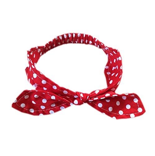 DELEY bebés retro del lunar de conejo vendas del turbante Headwear rojo