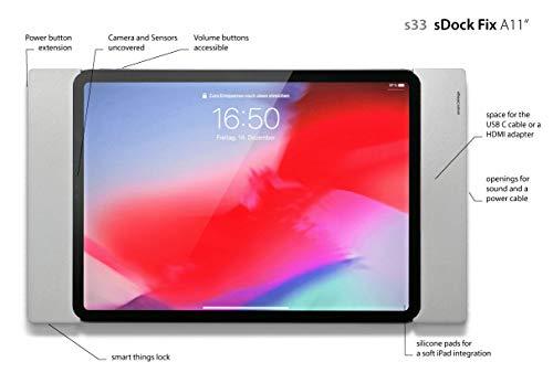 Smart things s33 s sDock Fix A11 Schwarz - Abschließbare Wandhalterung und Ladestation zur dauerhaften Installation für Apple iPad Pro 11