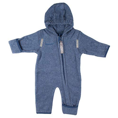 Hoppediz Overall aus Bio-Baumwolle, extra lange Beinen perfekt die Babytrage, Umschlagbündchen an Händen und Füßen - 68-74 blue