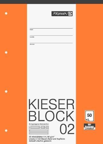 papieto Kieserblock/Schreibblock KIESER (Din A4-50 Blatt / 4-Fach gelocht) LINEATUR FREI WÄHLBAR (Lineatur 02)