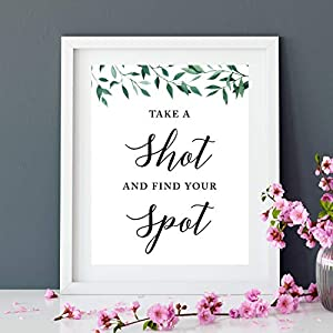 Andaz Press Wedding Party Signs, Natural Greenery Green Leaves, 8.5x11-inch, Take a Shot and Find Your Spot, 1-Pack, Place Card Alternative