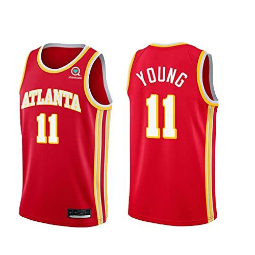 Yǒung 11# Camisetas de Baloncesto para Hombres, 2020-21 Trail HǎWKS Guard City Edition Jersey, excelente Tres punteros Red-L
