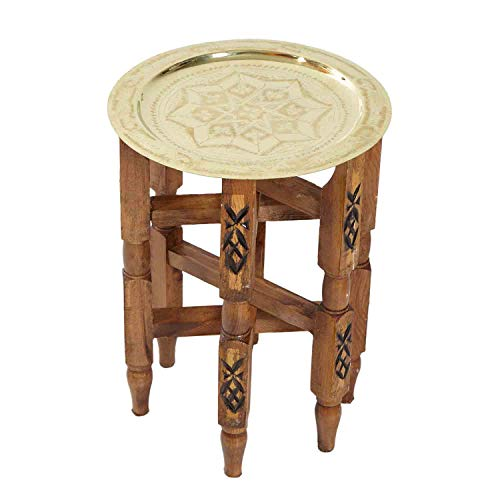 Casa Moro Oriental tea table, Moroccan side table with brass, tray diameter 30 cm, handmade wooden folding table with serving tray, colour: gold, karam 30