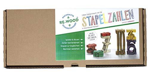 Wissner aktiv lernen R80021.M00 - RE Wood 34 Stapelzahlen in Montessori Farben, Lernspielzeug, Zahlen zum Stapeln und Rechnen, nachhaltig hergestellt, schadstofffrei
