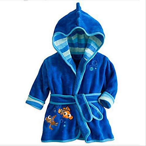 Bata de bebé para niñas Estampado de dibujos animados Minnie Mickey Albornoz de niños Pijamas de coral Cálido Infantil Ropa de niños Albornoces 2-6Y 6 Azul