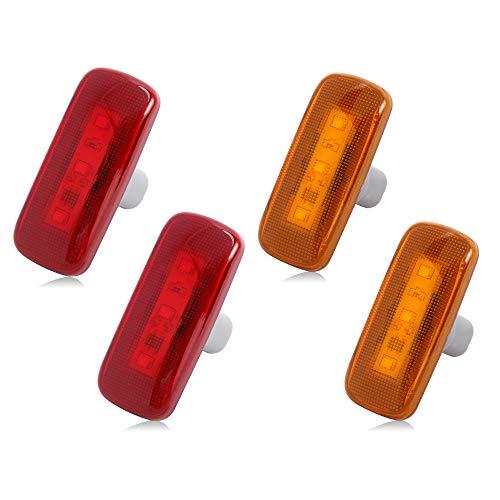 4PCS Dual Cab Bed Fender LED Side Marker Lights For 2010-2017 Dodge Ram 2500 3500 (2x Amber, 2x Red) …