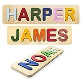 Rompecabezas con nombres personalizados para niños pequeños, niños, de madera, hasta 12 letras, juguetes personalizados de aprendizaje temprano para bebés y niñas, juguetes educativos de madera, regalos de cumpleaños de un año, rompecabezas para niños pequeños