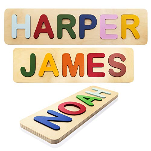 Personalized Name Puzzles for Toddlers, Kids - Wooden, Up to 12 Letters Custom Early Learning Toys for Baby Boy & Baby Girl - Educational Wooden Toys, One Year Old Birthday Gifts, Toddler Puzzles