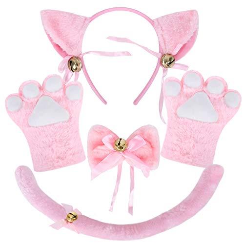 NEOLA Serre-tête avec oreilles de chat - Gants - Clochette - Déguisement Lolita Anime - Costume de chat - Costume pour fête d'Halloween - Pour enfants et femmes - Rose