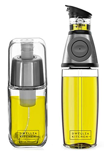 DWËLLZA KITCHEN Olive Oil Dispenser Bottle and Olive Oil Sprayer Mister for Cooking Set – Oil Spray Bottle 6 OZ and Glass Oil Bottle 17 OZ with Measurements and Drip-Free Spout Stainless Steel