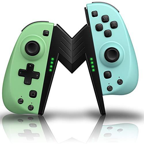 ECHTPower - Juego de 2 mandos inalámbricos para Nintendo Switch, Bluetooth, color verde neón, azul neón, mando con soporte como repuesto para joysticks inalámbricos