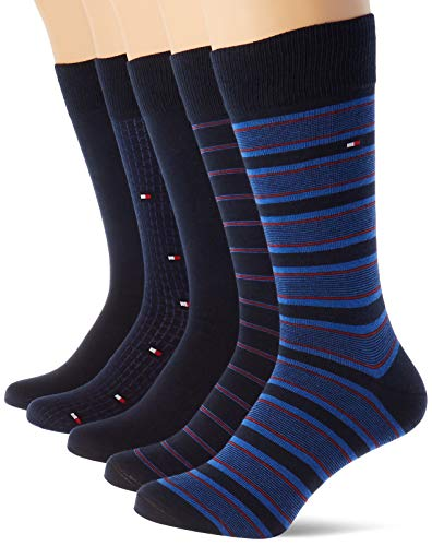 Tommy Hilfiger Th Men Sock 5p Fine Stripe Tin Giftbox calze, blu scuro, 39/42 (Pacco da 5) Uomo