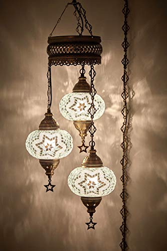 "DEMMEX Turkish Moroccan Mosaic Hardwired OR Swag Wall Plug in Chandelier Light Ceiling Hanging Lamp Pendant Fixture (3 X 6.5"" Globes - Swag)"