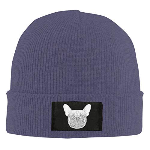 CKKSMZMZ Unisex Warm Winter Hat Knit Beanie Skull Cap Cuff Beanie Hat French Bulldog Dog Navy