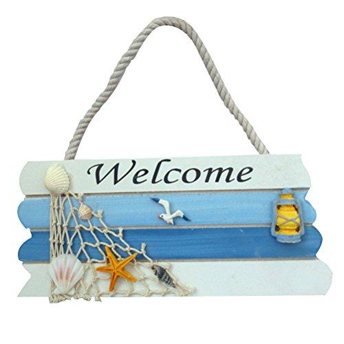 WINOMO Placa de Welcome Cartel Bienvenida de Madera Puerta Decoracion Nautica Azul
