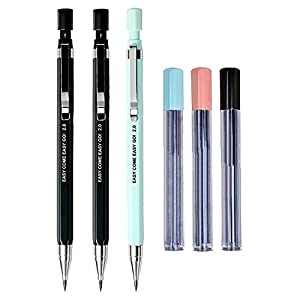 3pcs 2.0 mm Mechanical Pencil with 18pcs Black Lead Refills, Cute Kawaii Pencils for Draft Drawing Writing Crafting Art Sketching Student Gift Office School Supplies Korean Stationery, Random Color
