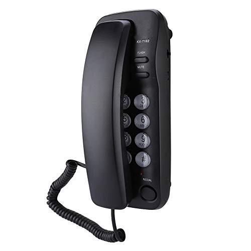 PUSOKEI Corded Phone, Wall Mount Landline Telephone Extension, Hotel Landline Phone for Home/Bathroom/Office(Black)