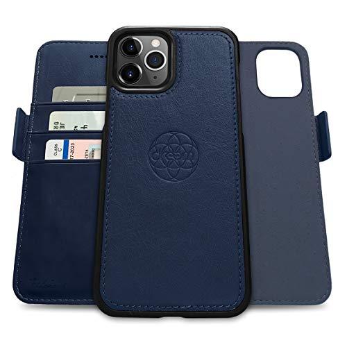 Dreem Fibonacci 2in1 Handyhülle Flipcase für iPhone 12 und 12 Pro   Magnetisches iPhone Hülle   TPU Etui Lederhülle Schutzhülle, RFID Schutz, Veganes Kunstleder, Geschenkbox   Königsblau