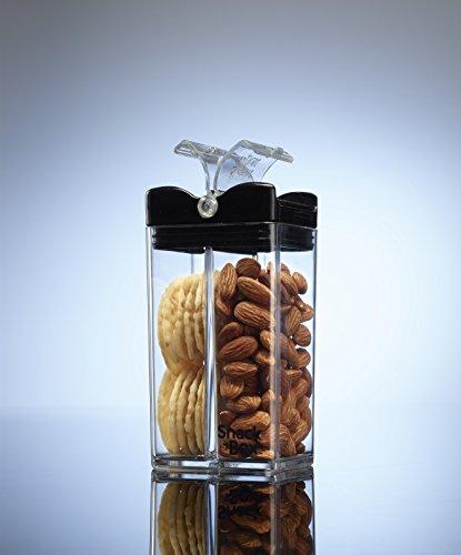 Precidio Design 1901BKCL Snack in the Box UNIQUE, a stylish and Eco-Friendly Reusable Snack Box Container (Clear/Black)