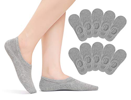 TUUHAW 10 Paar Sneaker Socken Damen & Herren Füßlinge Baumwolle kurze unsichtbare Footies Grau...