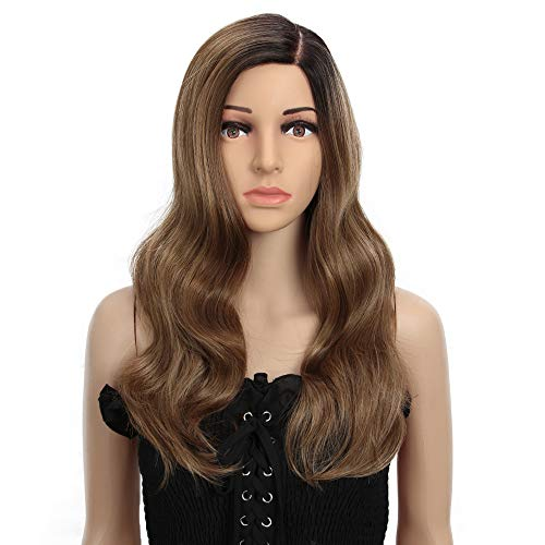 Style Icon Perruque cheveux longs ondulés 53,3 cm Mono Lace Perruque synthétique avec partie latérale ondulée sans colle pour femme
