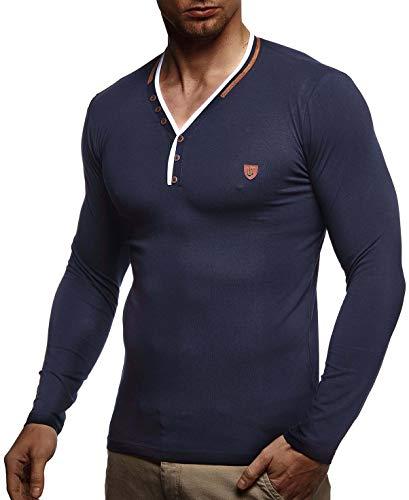 Leif Nelson Herren Sweatshirt V-Ausschnitt Slim Fit Baumwolle-Anteil Basic Männer Langarmshirt Pulli weißer Longsleeve V-Neck Pullover T-Shirt Langarm LN1475 Dunkel Blau Large