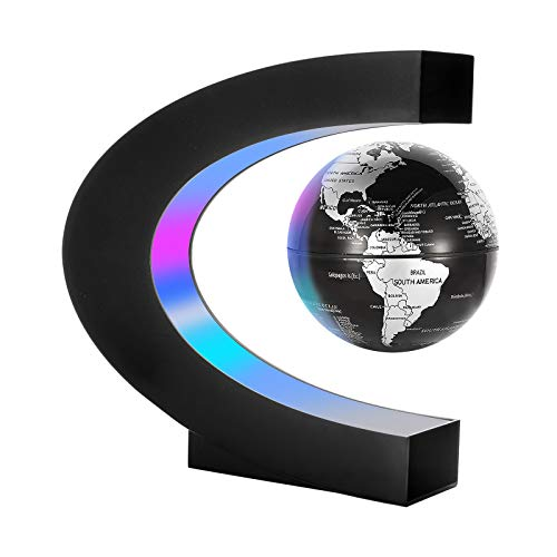Gresus Magnetic Levitation Floating World Map Globe with C Shape Base, Floating Globe with LED Lights, Great Fathers Students Teacher Business Boyfriend Birthday Gift for Home Office Desk Decoration