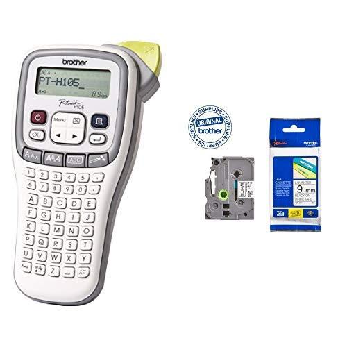 Brother P-touch H105 Beschriftungsgerät & Original P-touch Schriftband TZe-221 9 mm, schwarz auf weiß (kompatibel u.a. mit Brother P-touch H100LB/R, -H105, -E100/VP, -D200/BW/VP, -D210/VP)