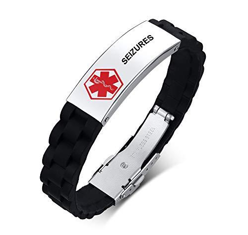 SEIZURES Silicone Comfort Sport Wristband Emergency Medical Alert ID Bracelet for Men Women Kid Boy,Medical Wristband