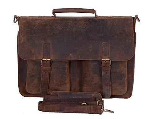 Unisex Leather Messenger Bag Real Buffalo Leather Satchel Briefcase Laptop Shoulder College School Office Work Notebook Files 15 Inch Bag