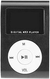 Mini USB Clip LCD Screen MP3 Player Support 32GB SD/TF MP3 Player USB Data Line Earphone Sports Metal Playerr : Black