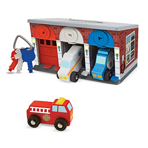 Melissa & Doug Keys & Cars Wooden Rescue vehicle set for toddlers