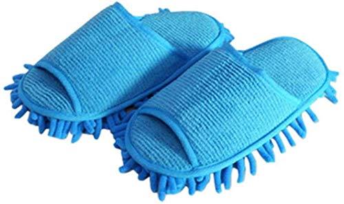 1 Par De Zapatillas Para Limpiar El Polvo, Limpiador Para Pastos, Para El Hogar, Baño, Limpieza De Suelos, Trapeador, Zapatillas, Zapatillas, Cubierta Perezosa, Azul, Microfibra, Productos Para El Hog