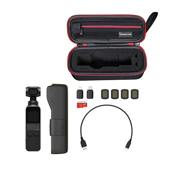 """Smatree Hard Carrying Case Compatible with DJI Osmo Pocket 2/Osmo Pocket, Extension Rod, OSMO Pocket Waterproof Case and… 2 Size: Small, Dimensions: 7.6"""" x3.5"""" x2.8"""" compact and easy to store in backpacks or carry-on luggage; recommend for traveling and home storage. Nice shaped compartments fit for osmo pocket, it can holds 1 x osmo pocket,4 x Neutral density filters,2 x SD Cards,2 x Smartphone Adapter(Refer to pictures). With comfortable hand strap for easy carrying. The hand strap can be easily attached to a belt or large bag."""