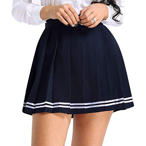Alvivi Damen Rock Schulmädchen Rock Faltenrock Einheitliche Uniform Rock Skater Röcke Outfit Freizeit Party Cosplay Kostüm Gr.S-XXXL Marineblau M
