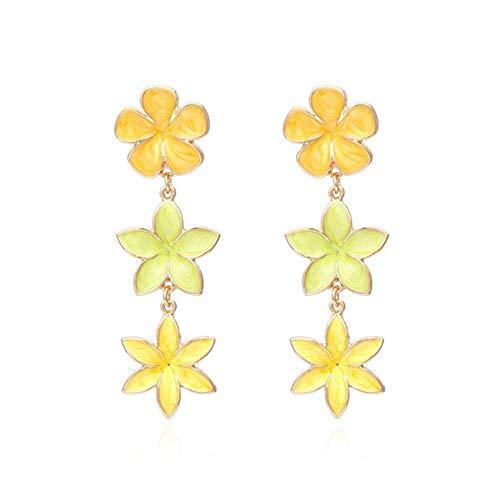 JIAJBG Pendientes Hechos a Mano Damas Pendientes de Flores de Aleación de Multicolor para Mujer Party Casual Jewelry 8 Retro / 4