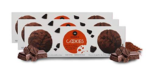 Deseo 3 Confezioni di Biscotti di frolla al Burro con Cacao e Cioccolato Fondente, Cookies Artigianali - 3 x 160g