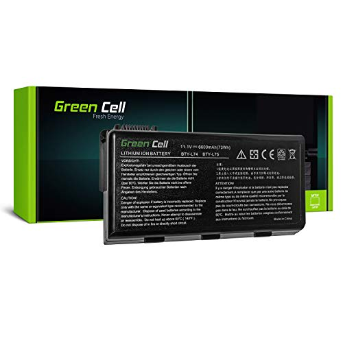 Green Cell Standard Serie BTY L74 BTY L75 Laptop Akku fur MSI CR500 CR600 CR610 CR620 CR630 CR700 CR720 CX500 CX600 CX605 CX620 CX700 GE700 A6000 A6200 9 Zellen 6600mAh 111V Schwarz