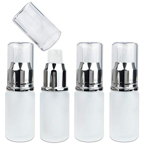 4 pcs Frosted Glass Spray Bottle with Fine Mist Sprayer and Cap for Travel Perfume, Cologne, Essential Oils or Alcohol and Other Liquids (4 Bottles, Silver (20 ML))