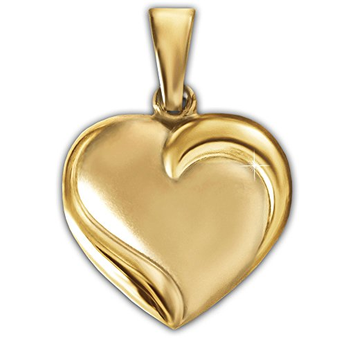 CLEVER SCHMUCK Goldener Damen Anhänger Herz 12 x 14 mm plastisch gewölbt geschlossen matt, elegant umschlungene Wellen glänzend am Herzrand, hinten hochglänzend poliert 333 Gold 8 Karat