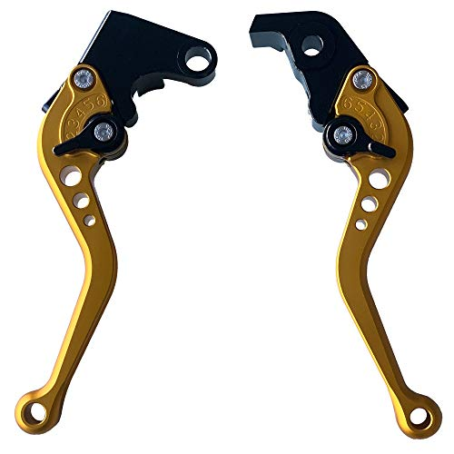 Short Adjustable CNC Motorcycle Brake and Clutch Levers for YAMAHA YZF R6 2005-2015,YAMAHA YZF R1 2004-2008 Gold