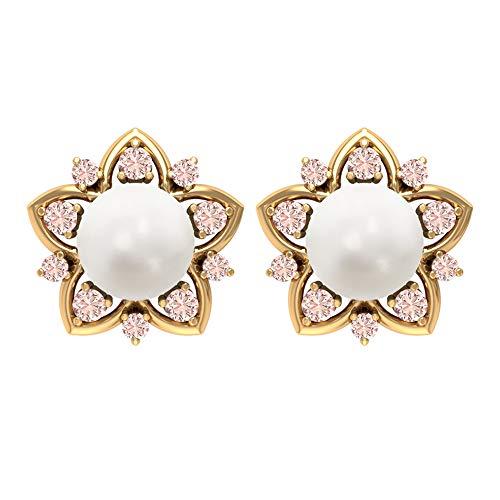 Pendientes de perlas de oro de 14 quilates para mujeres, 7 mm de perla de agua dulce, pendientes de moganita creados en laboratorio, pendientes solitarios de perla de 6 14K Oro amarillo, Par