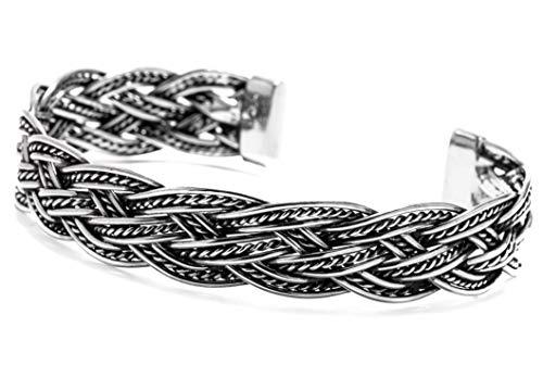 WINDALF Handmade Vintage Armreif RIORDA 1.2 cm Bohemia Armschmuck mit Vikings Knoten Zopf-Muster Freundschaftsband Handgeschmiedet 925 Sterlingsilber