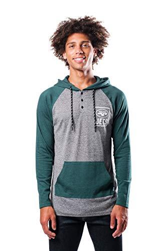 Ultra Game NFL New York Jets Mens Fleece Hoodie Pullover Sweatshirt Henley, Team Color, Large