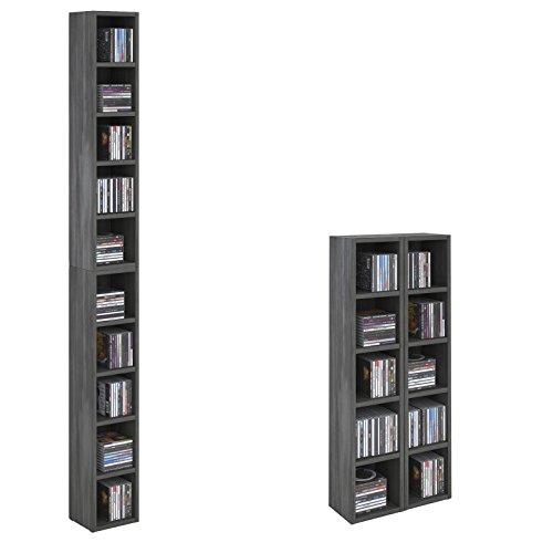 CD DVD Regal Chart Ständer Aufbewahrung in esche grau Holzoptik mit 10 Fächern für bis zu 160 CDs, 20x186,5 cm (Breite x Höhe)