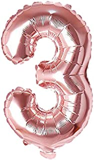 "Rozi Decoration Numbers Foil Balloon 16"" Inch -(Pack of one Unit) Rose Gold (Rose Gold-3)"