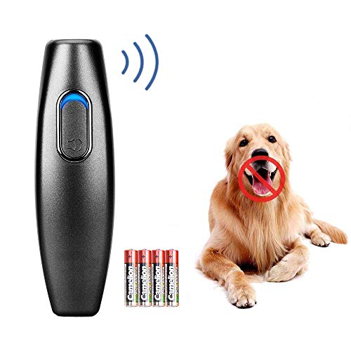 Ultraschall Hunde Repeller und Trainer Gerät Anti Bellen Stop Rinde Handheld Hunde Trainingsgerät 100% sanft & sicher Anti-Bell Ultraschall Gerät für Hunde Bellkontrolle (Schwarz)