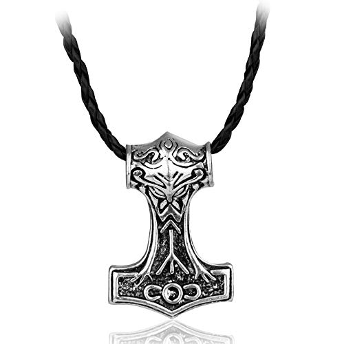 Ckssyao Herren Halskette Leder 50cm, Edelstahl-Anhänger Thor 925 Silber, Geeignet für Haka Souvenirs für Vater,Silber