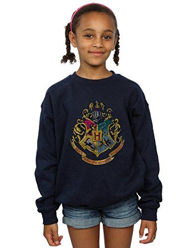 HARRY POTTER Fille Hogwarts Distressed Crest Sweat-Shirt 9-11 Years Marine