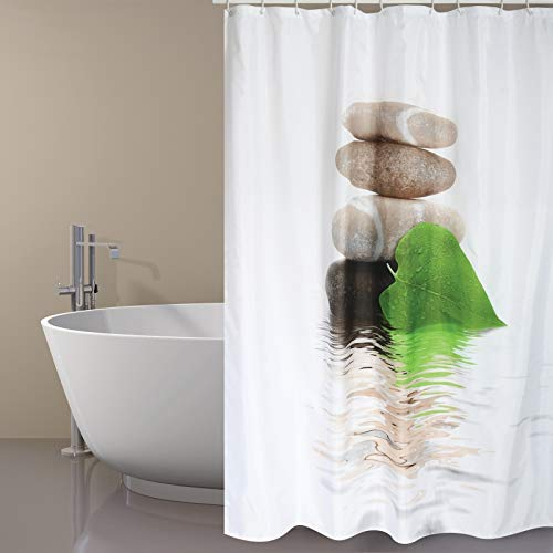 Cuco's Nest douchegordijn, model Afmetingen: 180 x 200 cm. Kleur: wit. Douchegordijn textiel. 100% polyester, waterdicht, anti-schimmel, antibacterieel.